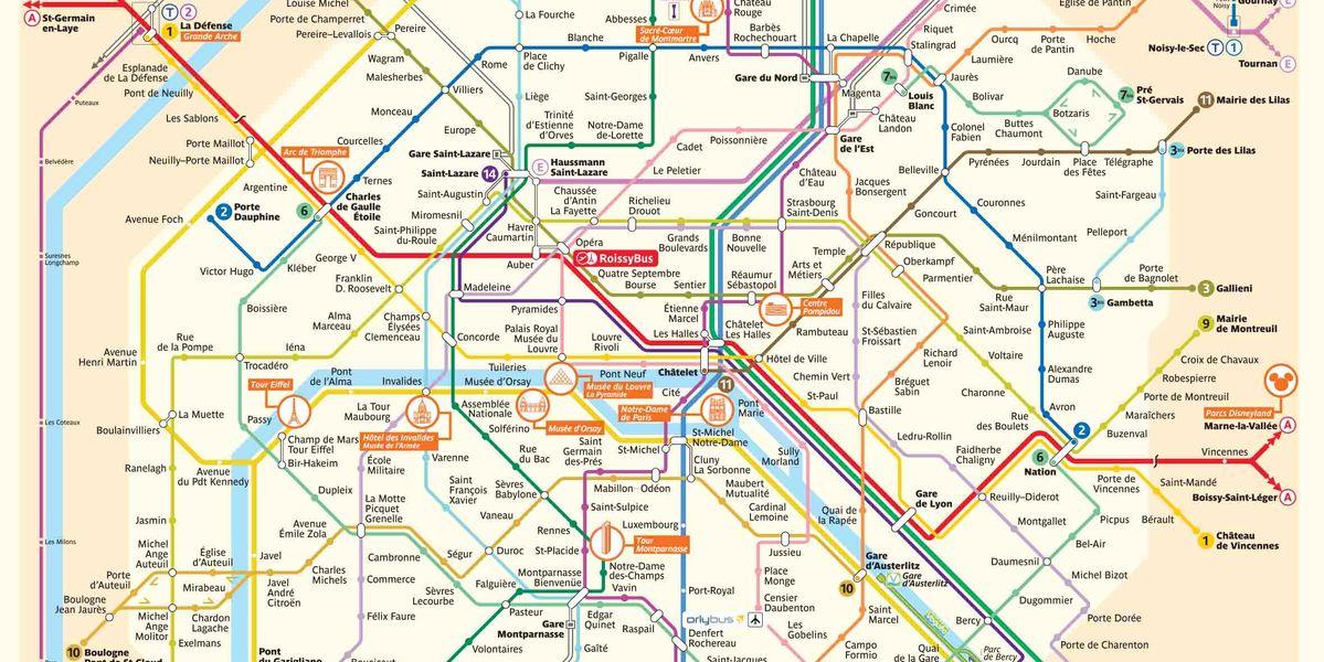 Plattegrond parijs bezienswaardigheden en metro - Tegel metro parijs ...